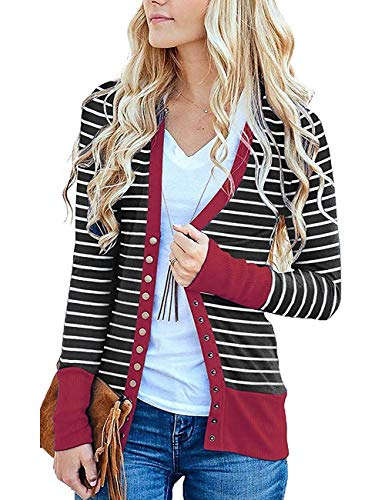 Cowear Women's S-3XL Solid Button Front Knitwears Long Sleeve Casual Cardigans Stripe Burgundy ()