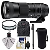 Sigma 150-600mm f/5.0-6.3 Contemporary DG OS HSM Zoom Lens for Canon EOS DSLR Cameras with Backpack + UV & CPL Filters + Pouch + Monopod + Kit