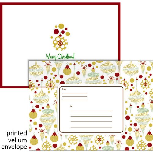 Price comparison product image Mara-Mi Photo Card Red/Gold Ornaments, 10cards/envelopes, 7 x 5 Inches  (37037)