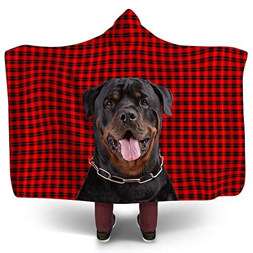 (NIWAHO Rottweiler Dog on Red Wallace Tartan Scottish Plaid Background Printing Hooded Blanket Sherpa Fleece Sweatshirt Blankets Throws for Adult, 80