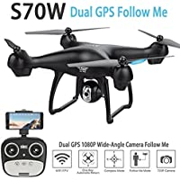 LiDi 1080P RC Quadcopter With Camera Drone Wifi GPS FPV Drone Altitude Hold G-sensor Follow Me Mode RC Drone Helicopter (Black)