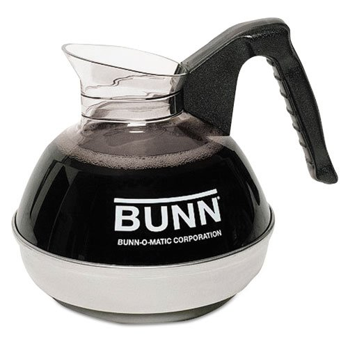 - BUNN 12-Cup Coffee Carafe for Pour-O-Matic Bunn Coffee Makers, Black Handle - Includes one decanter.
