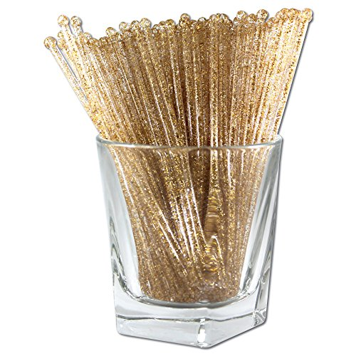 - Royer Round Top Stir Sticks, Swizzle Sticks, Drink Stirrers for Holidays, Christmas, Weddings, Parties - Crystal With Gold Glitter, 6 Inch, Set of 48 - Made In USA