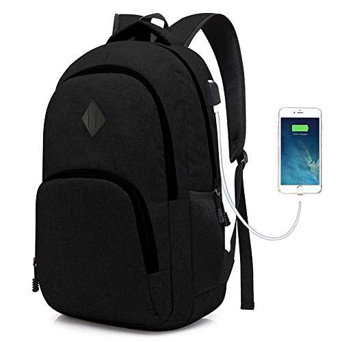 Laptop College Backpack Waterproof Lightweight Minimalism with USB Charging Port Business School Book Bag Travel Hiking Camping Outdoor Daypack Rucksack Fits 15.6-Inch Notebook (Black) by iRepie