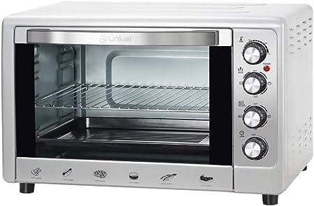 Grunkel - HR-48 Silver - Horno eléctrico multifunción de sobremesa de 48l con 3 Funciones de Calor y selector de Temperatura hasta 230ºC. Temporizador hasta 60 min - 2200W - Silver: Amazon.es: Hogar