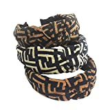 Designer FF Print Headband for Women - Fashionable Classical Cross Knot Hairbands - Flexible Wide Hard Hair Hoops with Soft Comfortable Material for Girls - 3PCS of Pack