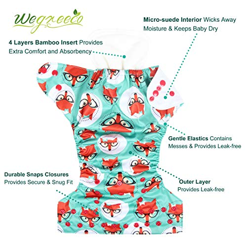 wegreeco Washable Reusable Baby Cloth Pocket Diapers 6 Pack + 6 Bamboo Inserts(with 1 Wet Bag,Girl Prints)