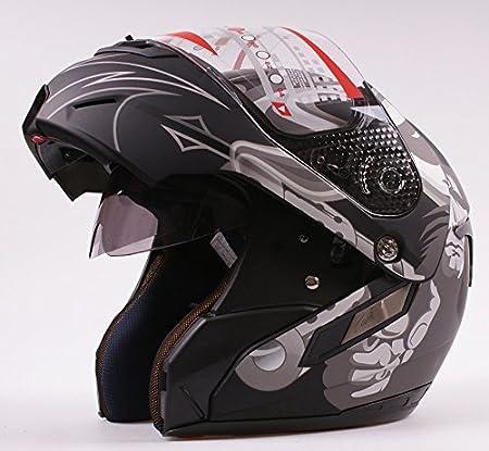Casco da moto modulare apribile, jet/integrale con doppia visiera, colore nero opaco, per moto/Vespa MRC