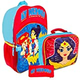 """Super Hero Girls Backpack and Lunch Box Set -- Deluxe 16"""" Backpack with Insulated Lunch Bag Featuring Wonder Woman with Stickers (Superhero Girls School Supplies)"""