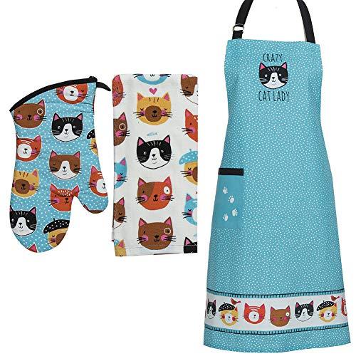(Set) Crazy Cat Lady Kitchen Towel Oven Mitt & 34