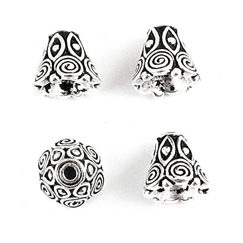Beads Bell Silver - TierraCast Pewter Bead Bell Caps-ANTIQUE SILVER SPIRAL CONE (4)