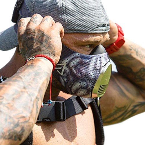 TrainingMask with Insane Bane Sleeve and Silver Cap 3.0 for Exercise, Running, Cardio Training, Endurance, Agility Training, High Intensity Training Workouts - Cardio Edge