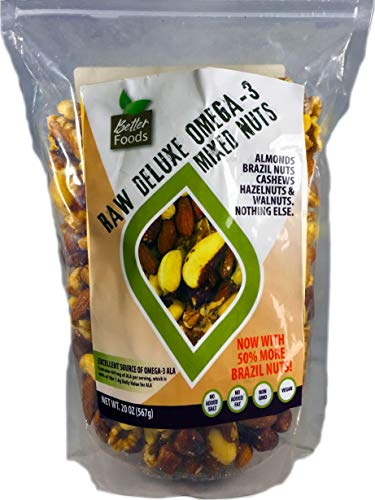 Raw Unsalted Deluxe Omega 3 Mixed Nuts (Almonds, Brazil Nuts, Cashews, Hazelnuts and Walnuts) Now With More Cashews and 50% More Brazil Nuts!