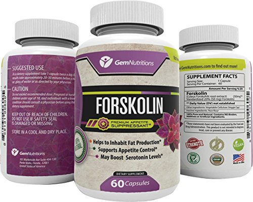 100% Pure Natural Forskolin Extract 60 Capsules - Best Weight Loss Fat Burner - Coleus Forskohlii Root Standardized 20% - 60 Diet Pills - 1 Month Supply