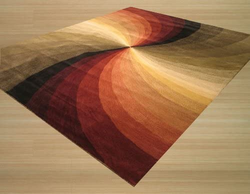 EORC SLMU Multi Hand Tufted Wool Swirl Rug , 7 9 x 9 9