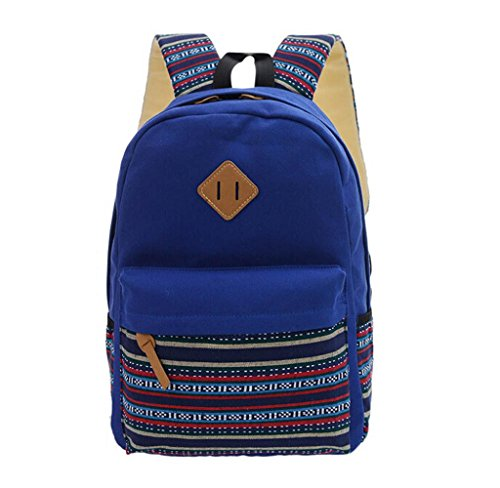 Unisex Mochila de Almacenamiento Grande, Holacha Bolso Backpack Estilo Etnico Retro Azul