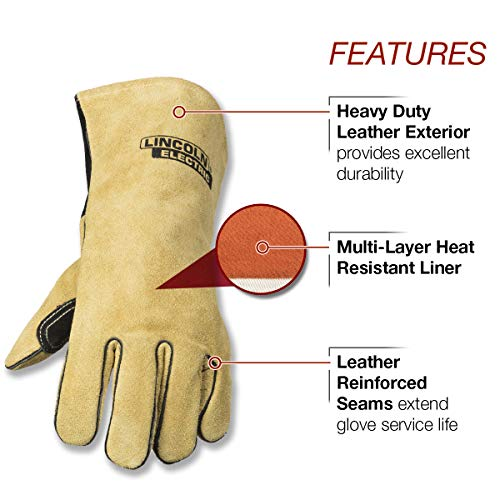 Lincoln Electric Heavy Duty MIG/Stick Welding Gloves   Heat Resistant & Durabilty   Large   K4082-L by Lincoln Electric (Image #1)