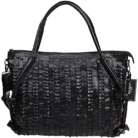 Iblue Lambskin Leather Shoulder Bag Womens Crossbody Tote 18in #i0306 (Black) - Lambskin Leather Tote Bag