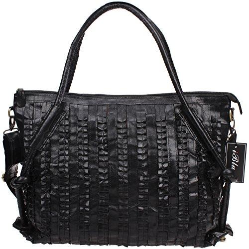 Lambskin Leather Tote (Iblue Lambskin Leather Shoulder Bag Womens Crossbody Tote 18in #i0306 (Black))
