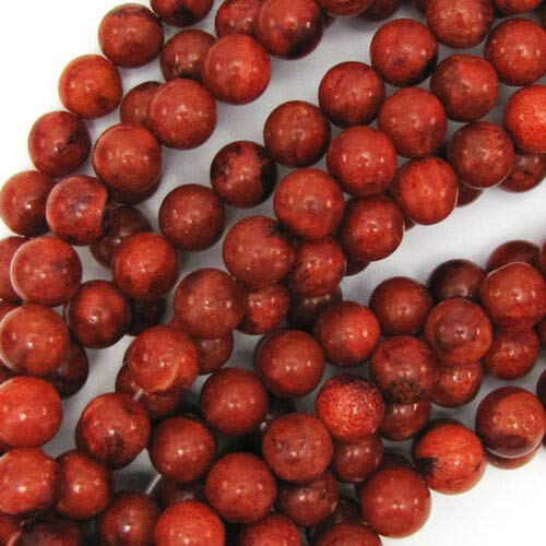 (Red Sponge Coral Round Beads Gemstone 15.5