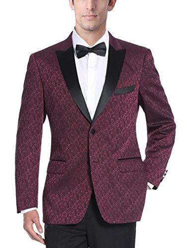 Chama Mens Two Button Navy Blue & Burgundy Textured Tuxedo Dinner Jacket Blazer with Satin Peak Lapel (Burgundy, 46S)