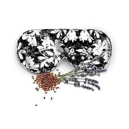 (Mulberry Silk Sleep Mask - Anti-Aging Eye Mask With Lavender Pouch For Aromatherapy And Relaxation, Black And White Floral)