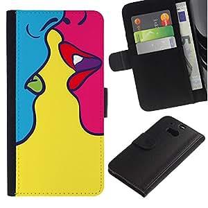 LASTONE PHONE CASE / Lujo Billetera de Cuero Caso del tirón Titular de la tarjeta Flip Carcasa Funda para HTC One M8 / Kiss Sensual Woman Yellow Pop Art