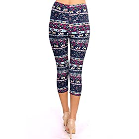 - 5106e8PmuAL - VIV Collection Print Brushed Ultra Soft Cropped Capri Leggings Regular and Plus (Sizes XS – 2XL) Listing 1