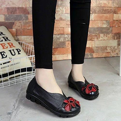Sunrolan Womens Handwork Multi-style En Cuir Automne Nouveau Plat Fleur Modèle Slip-on Mocassins Chaussures Style4-noir