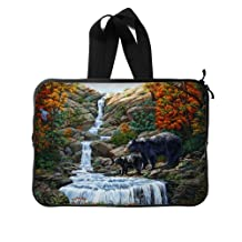 """Fashionable Style Black Bear Family In The Forest Macbook, Macbook Air/Pro 13"""" All 13"""" Laptop Notebook Computer Carrying Case Sleeve (Twin Sides)"""