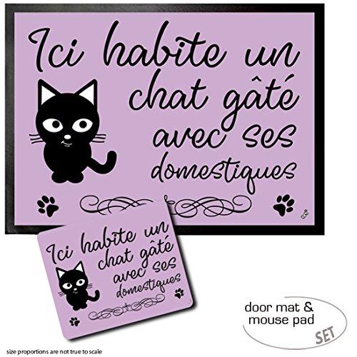 (Set: 1 Door Mat Floor Mat (28x20 inches) + 1 Mouse Pad (9x7 inches) - Cats, Ici Habite Un Chat Gâté Avec SES Domestiques)