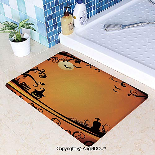SCOXIXI Printed Non Slip Entry Door Mat Bathroom Carpet Halloween Themed Image Eerie Atmosphere Gravestone Evil Pumpkin Moon Decorative Area Rugs for Dining Room Living Room Kitch W31.5xL47.2(inch)]()