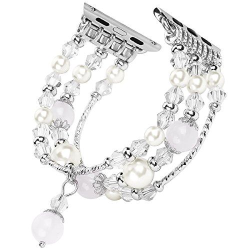 Tomazon Compatible Apple Watch Band, Fashion Handmade Elastic Stretch Crystal Pearl Bracelet Replacement Women Girls iWatch Strap Bands Compatible Apple Watch Series 3 / 2 / 1 All Version 38mm - White