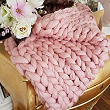 Chunky Knit Blanket Handmade by eacho Soft Knitting Throw Bed Bedroom Decor Bulky Sofa Pet Mat, Pink, 32'' x 40''