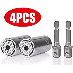 Universal Socket Grip Adapter Linkstyle 4PCS Grip Socket Set Metric Wrench Power Drill Adapter 1/4 inch to 3/4 inch Professional Repair Tools