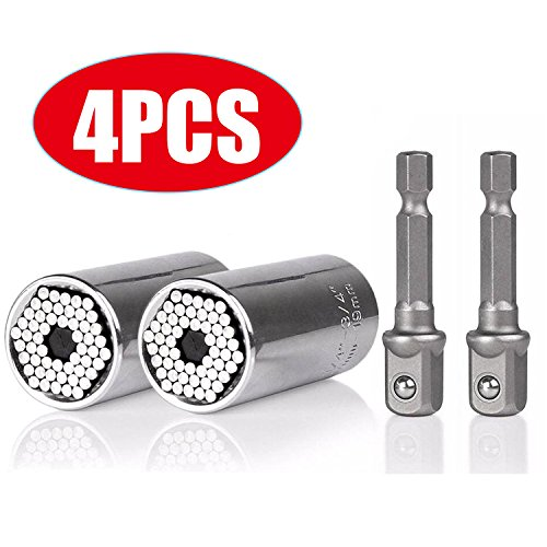 Universal Socket Grip Adapter Linkstyle 4PCS Grip Socket Set Metric Wrench Power Drill Adapter 1/4 inch to 3/4 inch Professional Repair Tools from LinkStyle