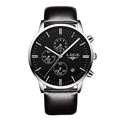 Watch,Mens Watch,Mens Black Simple Casual Stainless Steel Fashion Watch with Milanese Mesh Bracelet Band,Waterproof Calender Wrist Watch