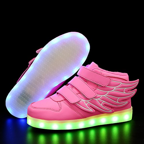 CIOR Kids Boy and Girl's 11 Color Wings Led Sneakers Light Up Flashing Shoes,102,06,35, 3 M US Little Kid, 02Pink