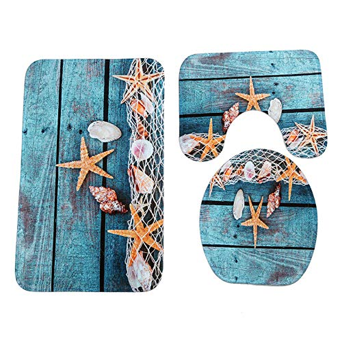 GMYANMTD 3Pcs Mediterranean Conch Starfish Anti Slip Toilet Carpet Bathroom Mat Coral Velvet Toilet Mats Three Sets of Bath - Pedestal Mediterranean