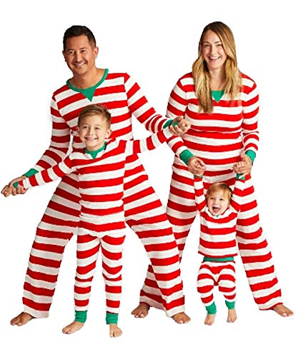 Ekouaer Family Christmas Pajamas Set Cotton Striped Sleepwear PJS Set Women/Men/Boys/Girls