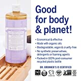 Dr. Bronner's - Pure-Castile Liquid Soap (Lavender) - Made with Organic Oils, 18-in-1 Uses: Face, Body, Hair, Laundry, Pets and Dishes, Concentrated, Vegan, Non-GMO, 32 Fl Oz