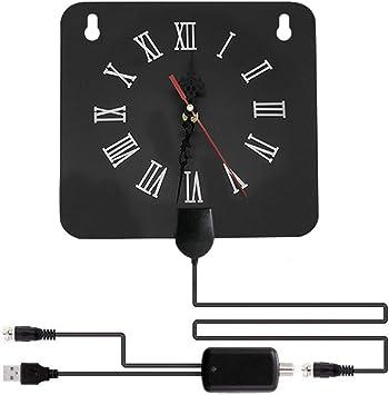 Antena de TV Interior, Antena de TV TDT 2 en 1 con Reloj, Amplificador de señal