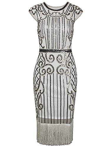 Vijiv 1920s Vintage Inspired Sequin Embellished Fringe Long Gatsby Flapper Dress,Silver White,Small Photo #2