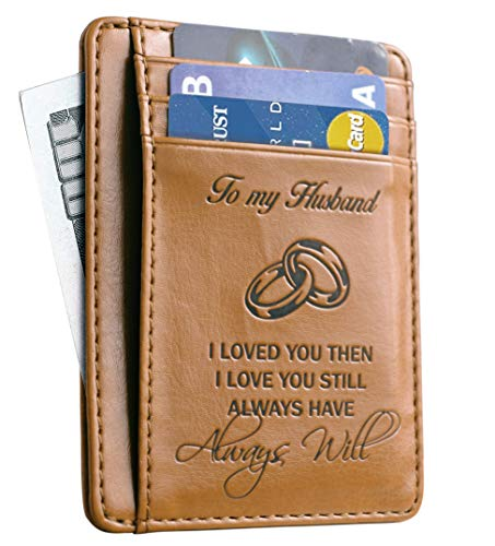 Memory Wife To Husband Gift, Best Anniversary Gifts For Him slim Wallet Card Holder (15th Wedding Anniversary Gift Ideas For Him)
