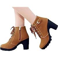 JOYTO Femme Bottines a Talon Plateforme Velours Lacer Cuir Basse 8 CM Hiver Automne Fashion Elegante Confortable Boots avec De La Fourrure Noir Kaki Vert Rouge 35-41
