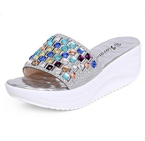 NVXIE Zapatilla Coloreado Rhinestone Aumentar Sandalias Antideslizante Resistente al Desgaste Masaje Zapatos de Playa Silver