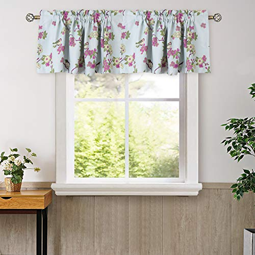 BGment Valance Curtains for Bedroom - Rod Pocket Thermal Insulated Room Darkening Printed Bird Floral Patterns Bathroom and Kitchen Blackout Curtains, 2 Panels of 52 x 18 Inch, Blue