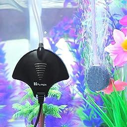 Quietest Aquarium Air Pump Ultra Silent High Energy Saving Oxygen Air Pump Aquarium for Fish Tank with Air Stone and Silicone Tube Black