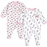 Pekkle Baby 2-Pack Footed Sleeper, Snap, Sleep & Play Onesie Unisex Pajamas, White/Pink, 3 Months