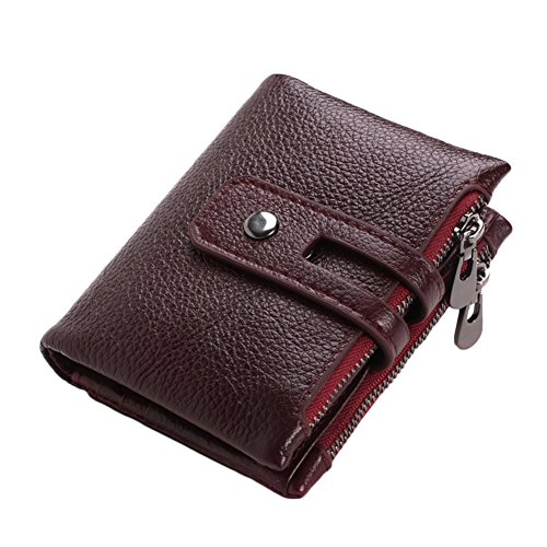 Brown Holder Men Pocket Wallet Coin Red Dark Capacity Large Bifold with Short Card Dark Style W77qw0Fnr